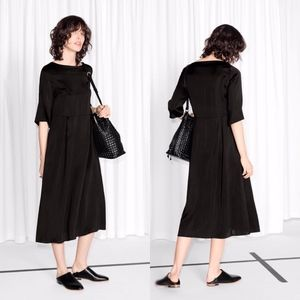 & Other Stories Black Boatneck Midi Dress Ruffle